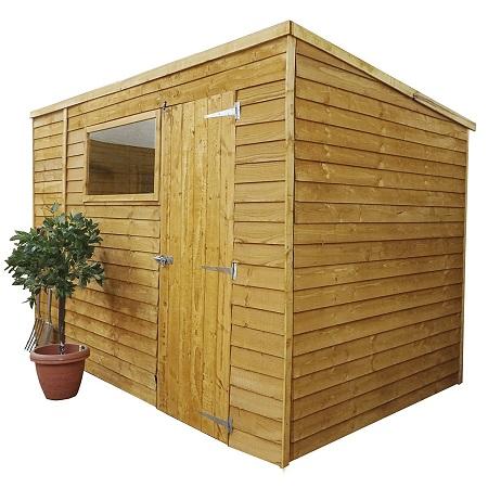 10x6 Overlap Wooden Pent Garden Shed