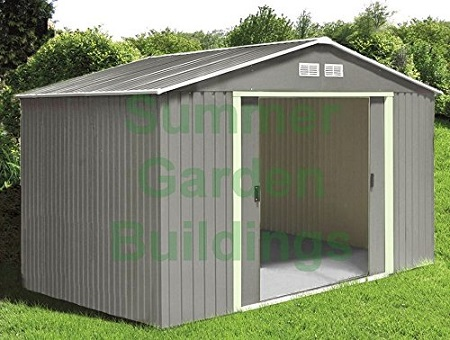 METAL SHED - GARDEN STORAGE - APEX ROOF, DOUBLE DOOR, GALVANIZED STEEL